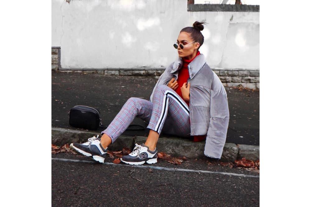 Vintage Chanel Sneaker White Grey Logo lissyroddyy