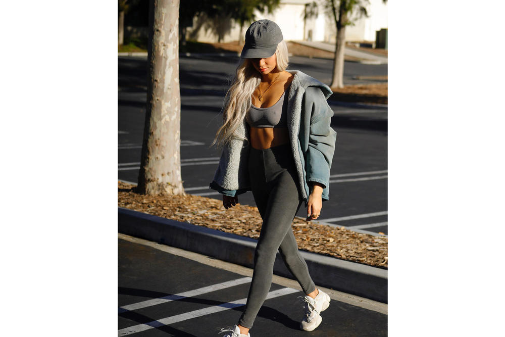 Yeezy Season 6 Instagram Campaign Kristen Noel Crawley Bra Leggings Desert Rat 500