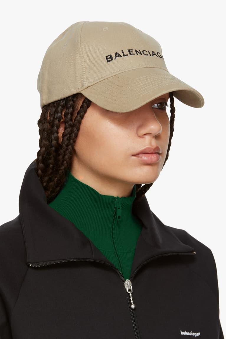 Balenciaga Cotton Twill Logo Cap in Beige Tan Classic Hat Piece Iconic Logo Dad Cap Brown Nude