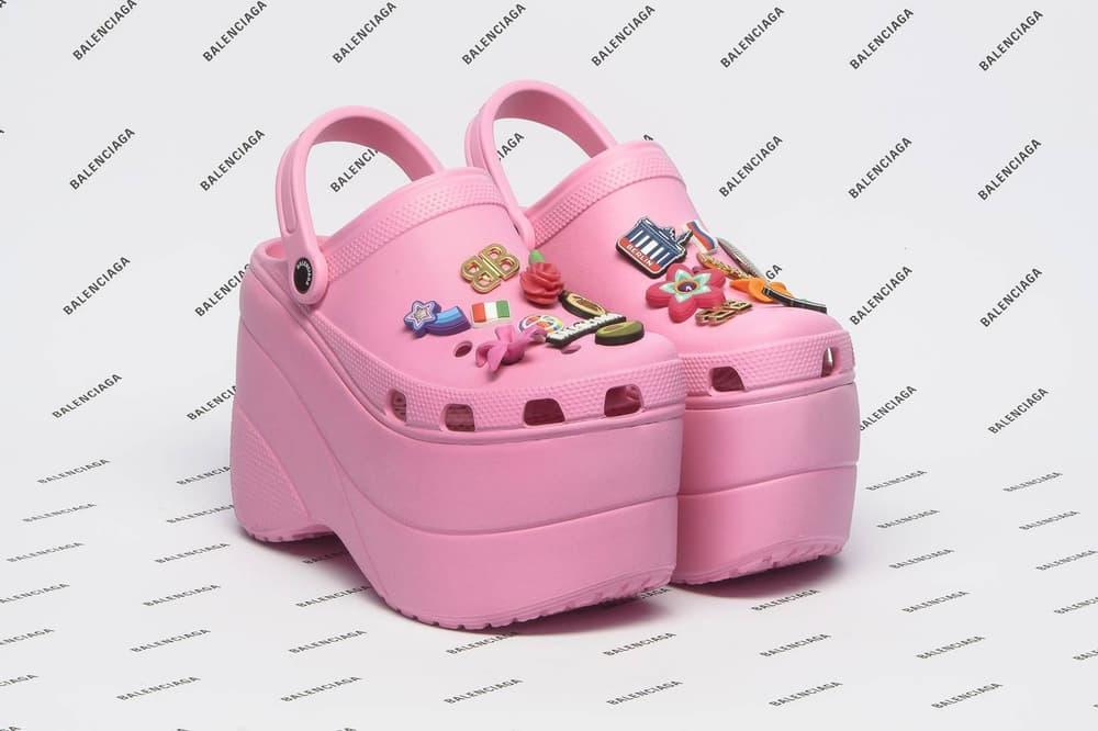 Balenciaga Foam Embellished Platform Crocs Pink