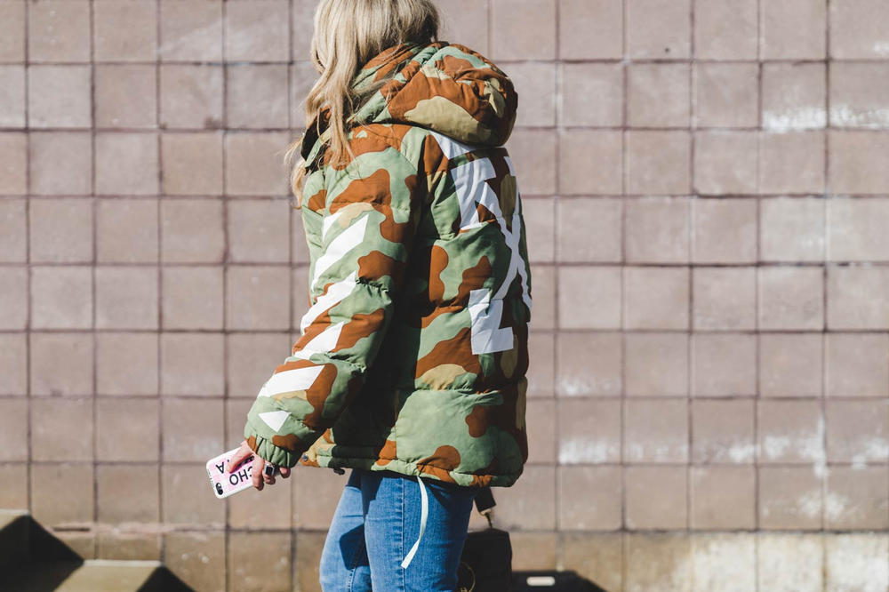 Off White Camo Puffer Jacket Woman New York Fashion Week 2018 Streetsnaps