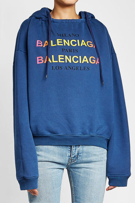 b8be897affe9 Balenciaga Drops a Luxe Hoodie in Bold Blue with Multicolored Detailing