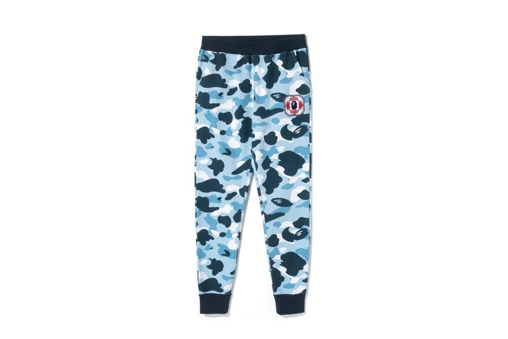 BAPE Navy Marine Camouflage Womens Collection Shark Face Hoodie Blue Print T-Shirt