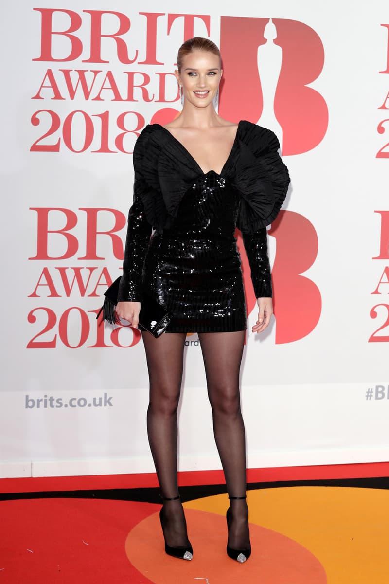 Rosie Huntington Whitely Brit Awards 2018 Red Carpet Black Dress