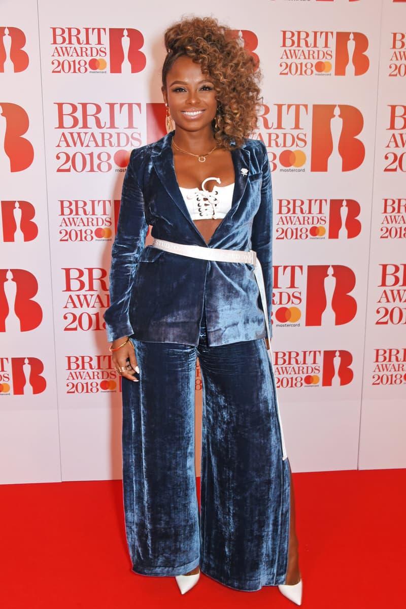Fleur East Brit Awards 2018 Red Carpet Off White Belt Velour Blue Suit