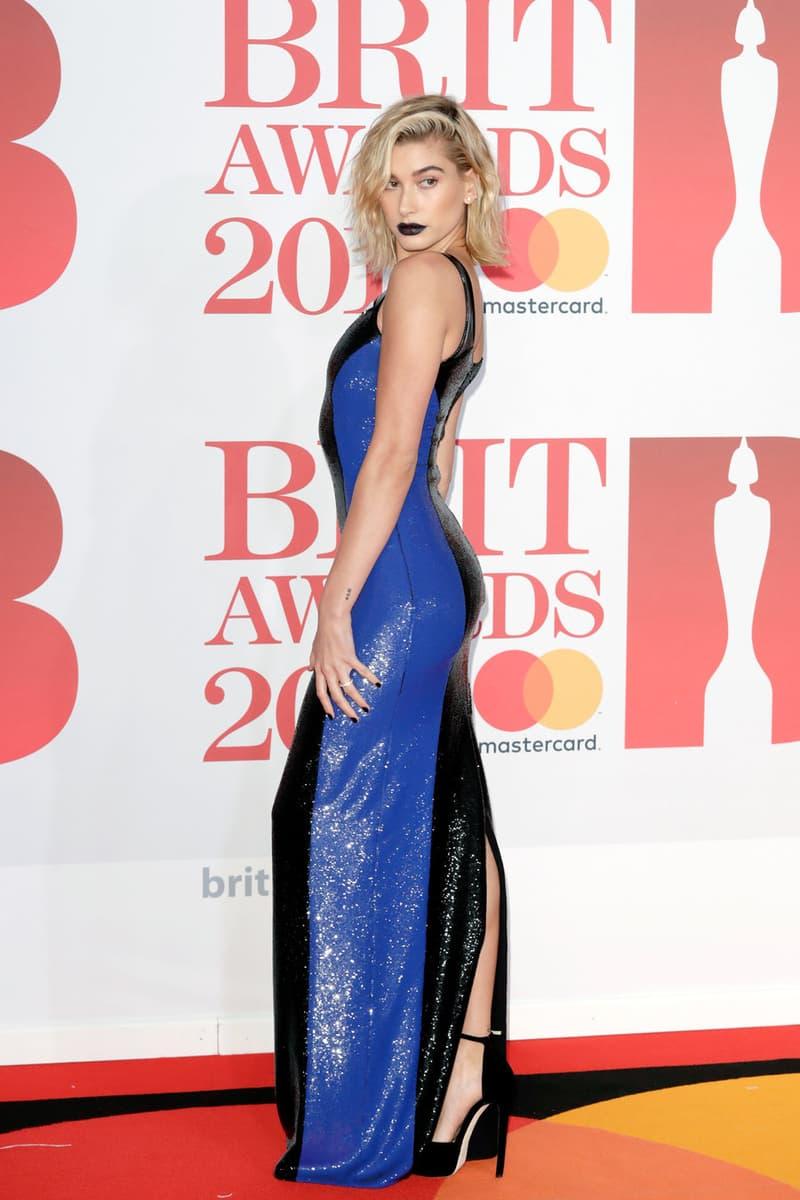 Hailey Baldwin Blue Dress Brit Awards 2018 Red Carpet