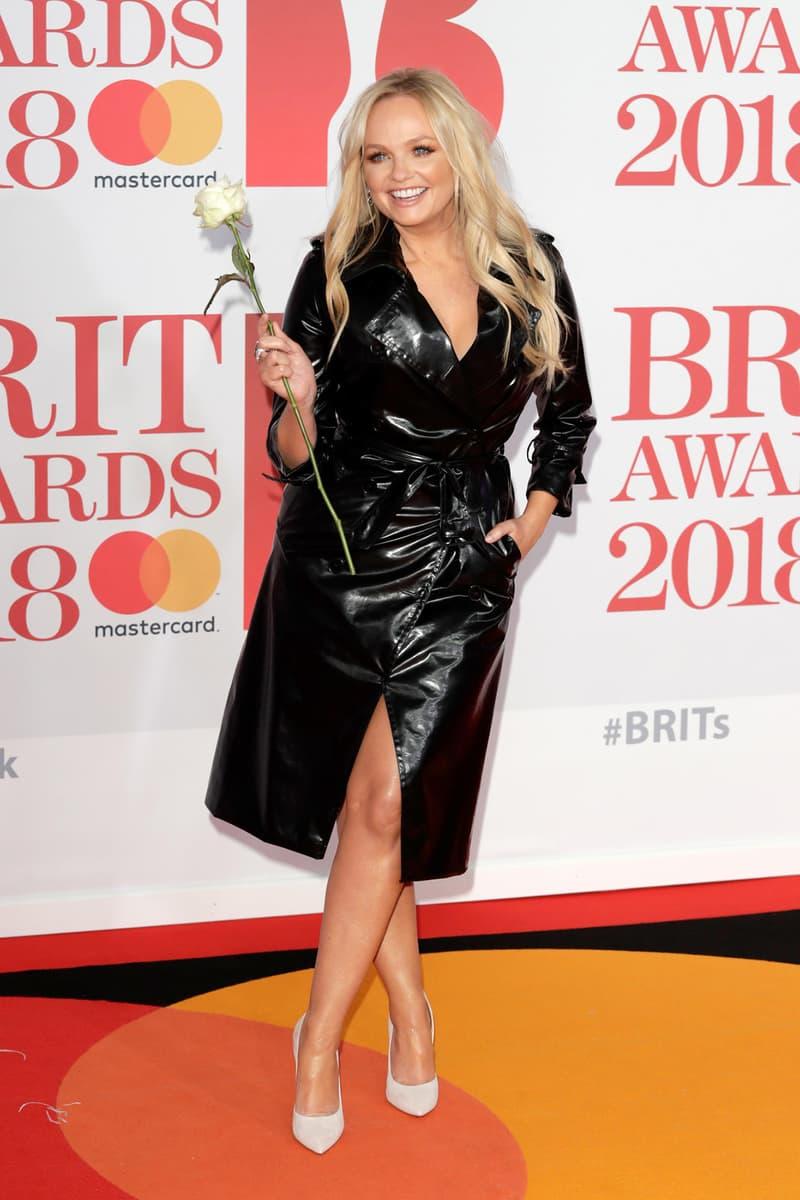 Spice Girls Emma Bunton Baby Brit Awards 2018 Red Carpet White Rose