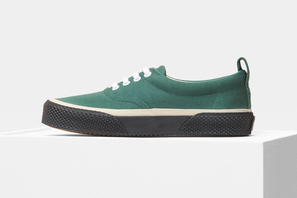 Celine Lace Up Sneaker White Green Canvas
