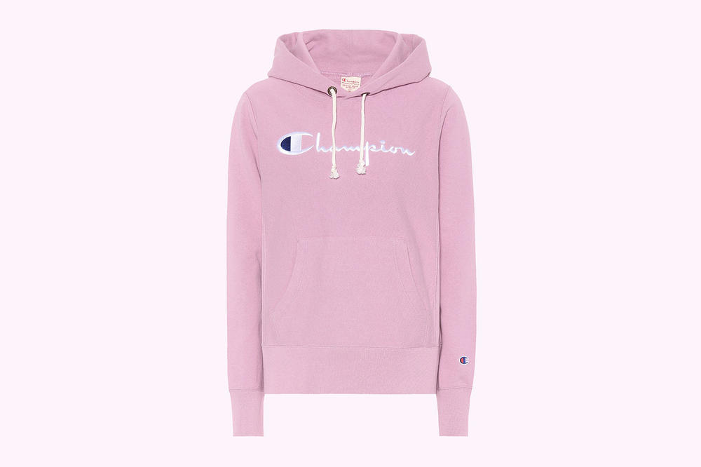 Champion pink logo embroidered hoodie cotton pastel light millennial  mytheresa.com where to buy 75f898fa3