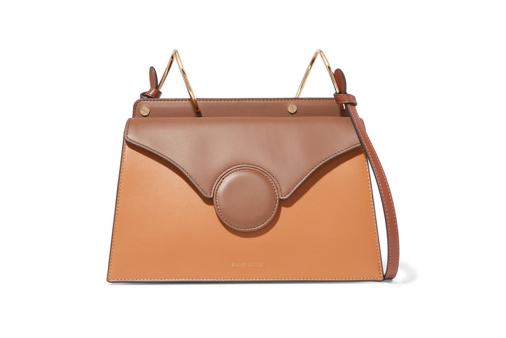 Danse Lente Phoebe Two-Tone Leather Shoulder Bag Tan