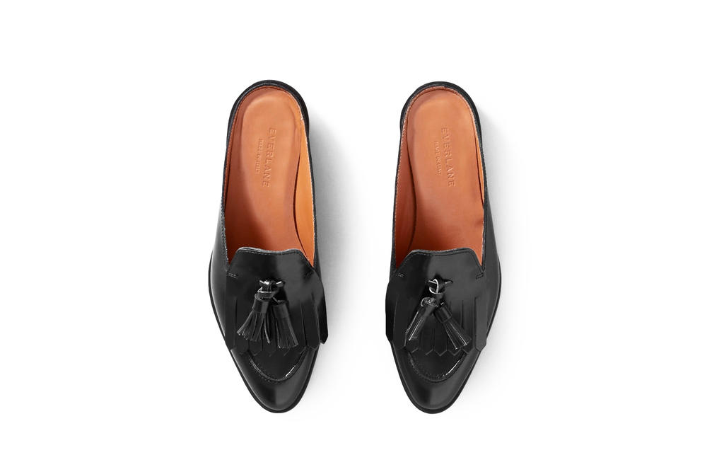 Everlane Classic Leather Mules Black Burgundy White Loafers Slippers Shoes