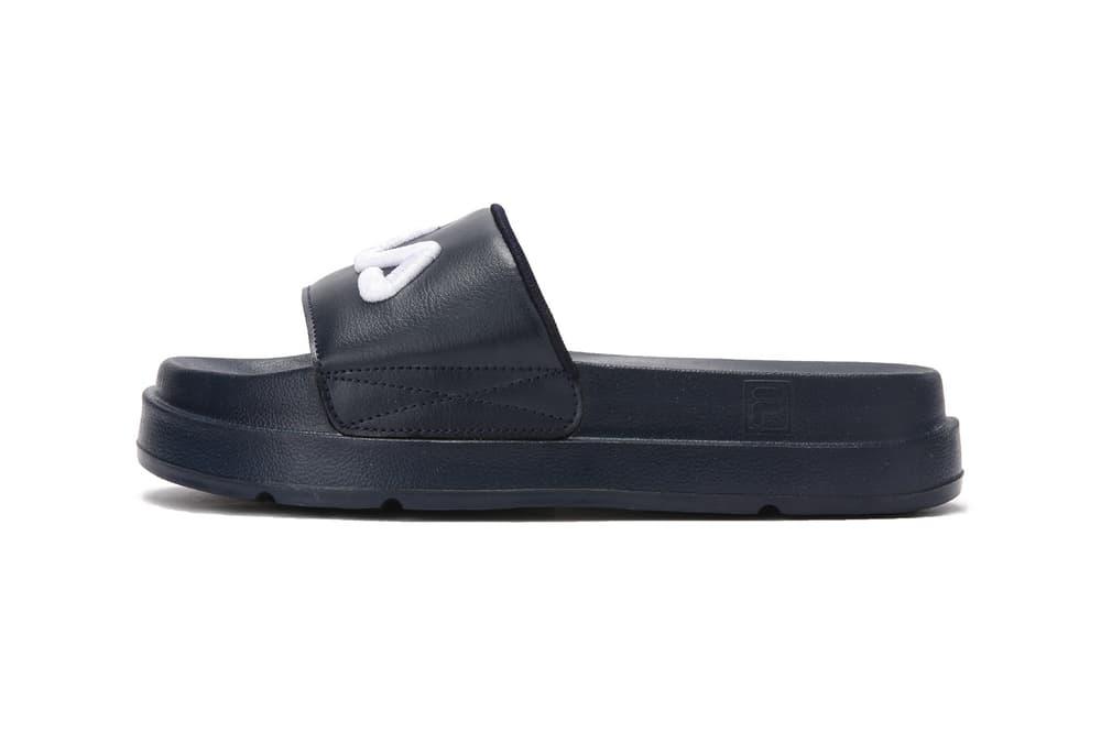 FILA logo millennial pastel pink platform slides drifter jacked up black white summer footwear where to buy