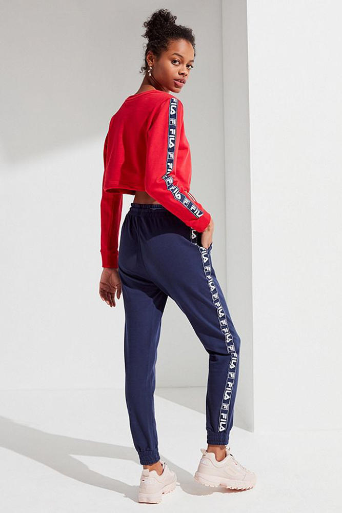 FILA taped logo mitzi jogger pants womens navy cozy ladies girls urban outfitters sportswear where to buy