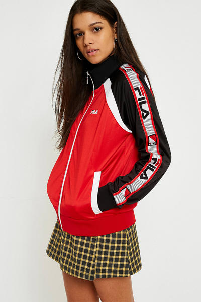 FILA womens athletic track jacket colorblocked 90s retro vintage sportswear red black white logo urban outfitters