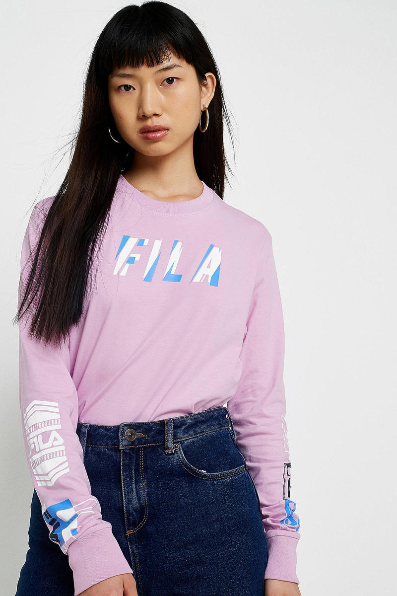 FILA ultra violet light pastel purple pink graphic logo long sleeve top urban outfitters