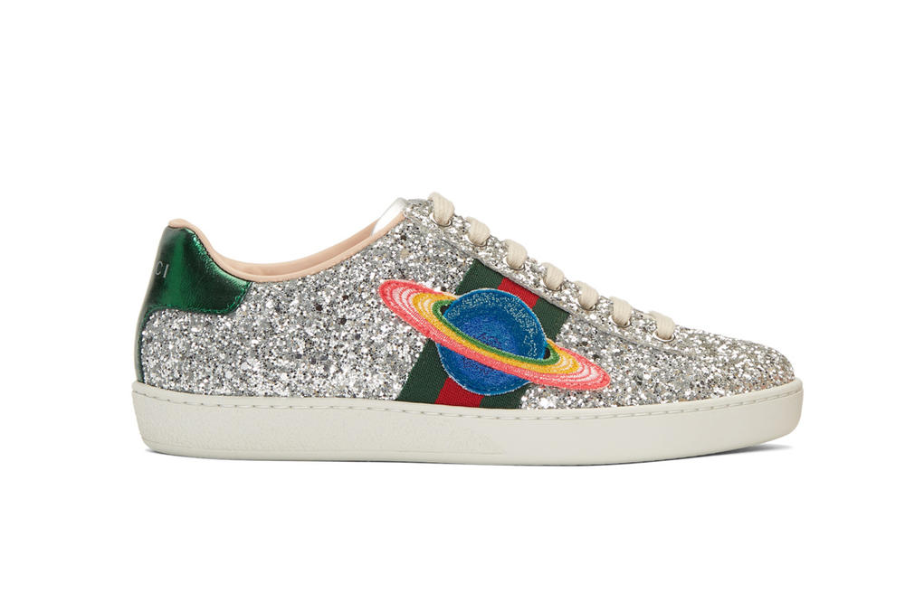 abae052ca2e9 Gucci Silver Glitter Ace Sneakers Space Patch