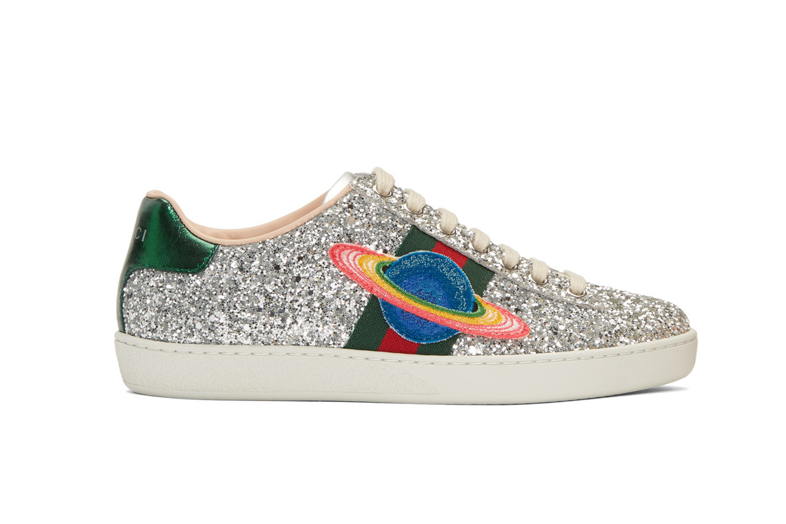 buy best hot sale online best loved Gucci Silver Glitter Ace Sneakers Space Patch | HYPEBAE