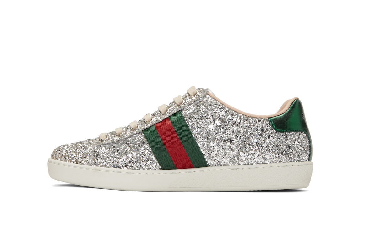 Gucci Silver Glitter Ace Sneakers Space