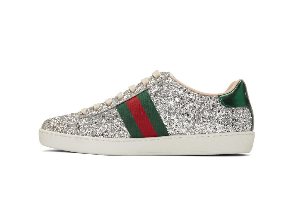 a1387e0f4 Gucci Silver Glitter Ace Sneakers Space Patch | HYPEBAE