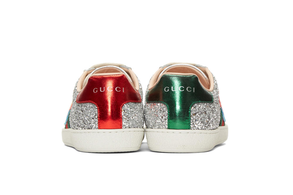 Gucci Silver Glitter Ace Sneakers Space Patch Back