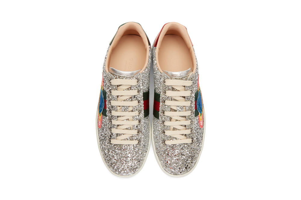 Gucci Silver Glitter Ace Sneakers Space Patch Top