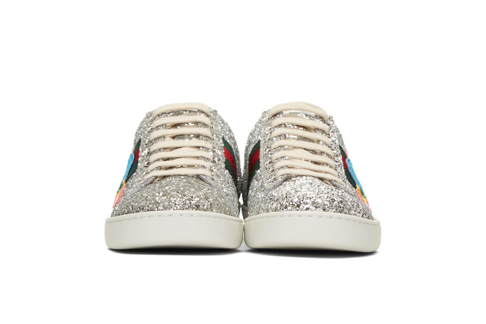 Gucci Silver Glitter Ace Sneakers Space Patch Front