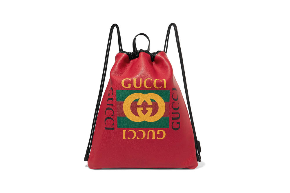 05bd12552052 Buy Gucci's Logo Drawstring Backpack in Red | HYPEBAE