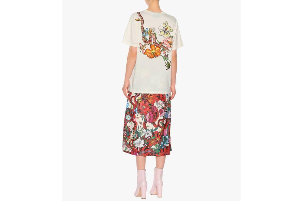 Gucci White Vintage Logo T-Shirt Jungle Print Floral Snake Iconic