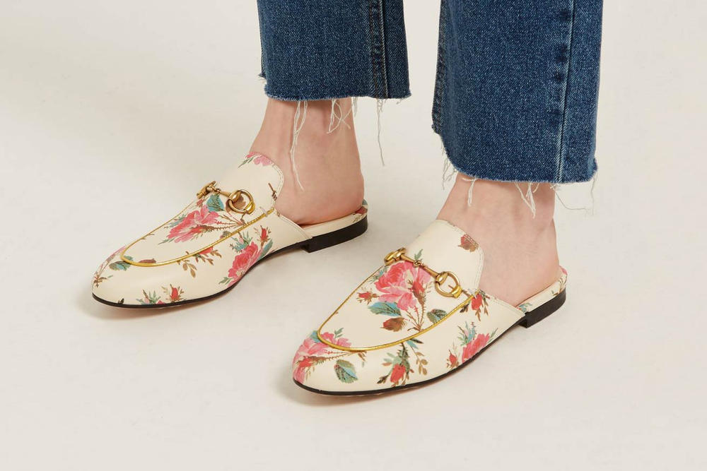 24b9b373f235a Where to Buy Gucci s Floral Princetown Loafers