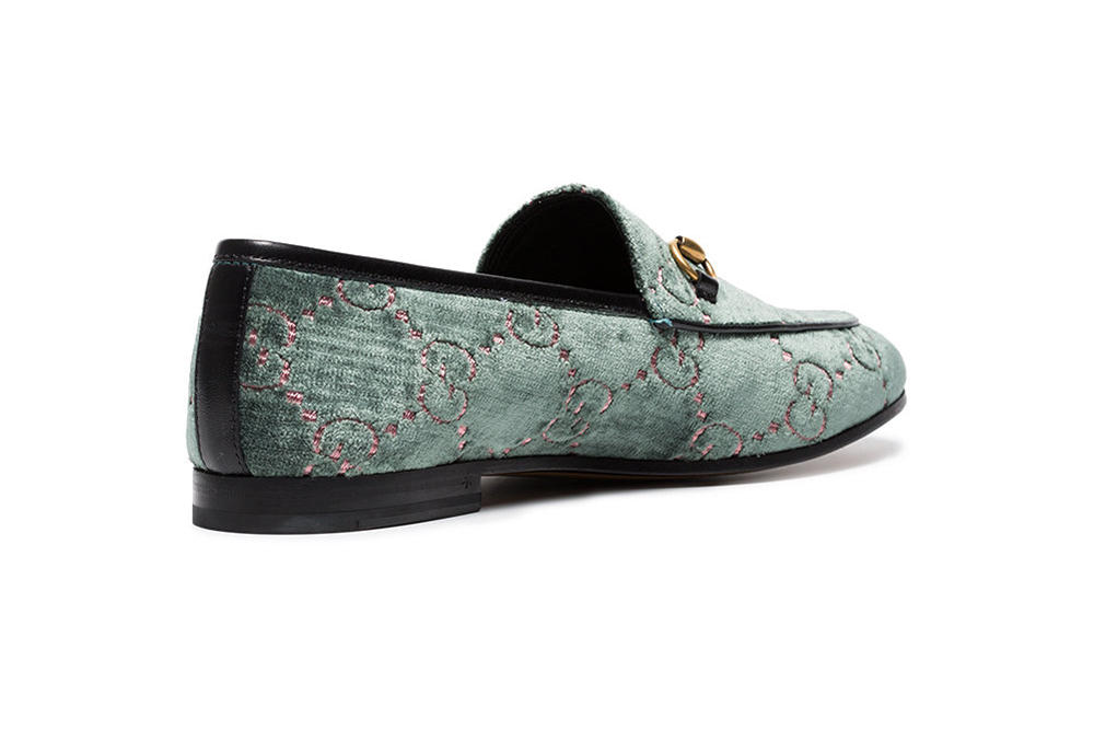 Gucci Jordaan Logo Embroidered Velvet Loafers Light Blue Leopard/Pink