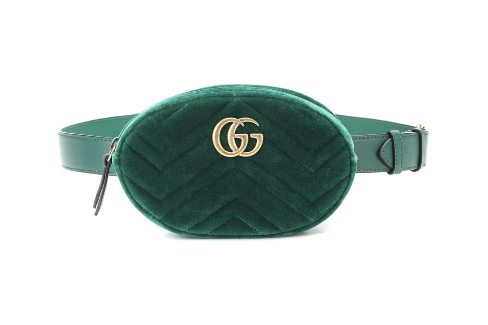 Gucci Marmont belt bag fanny pack gold logo green velvet where to buy