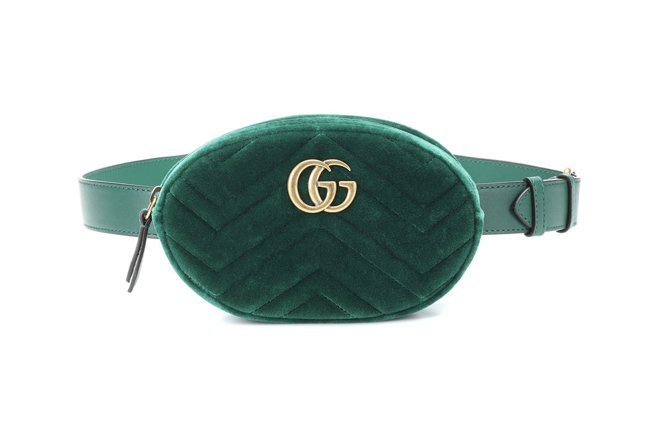 a083cc4a00b5 Gucci Releases Marmont Belt Bag in Green Velvet