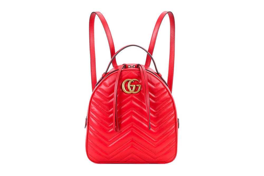1e2cd25587d Gucci GG Marmont Matelassé Leather Backpack Red Gold