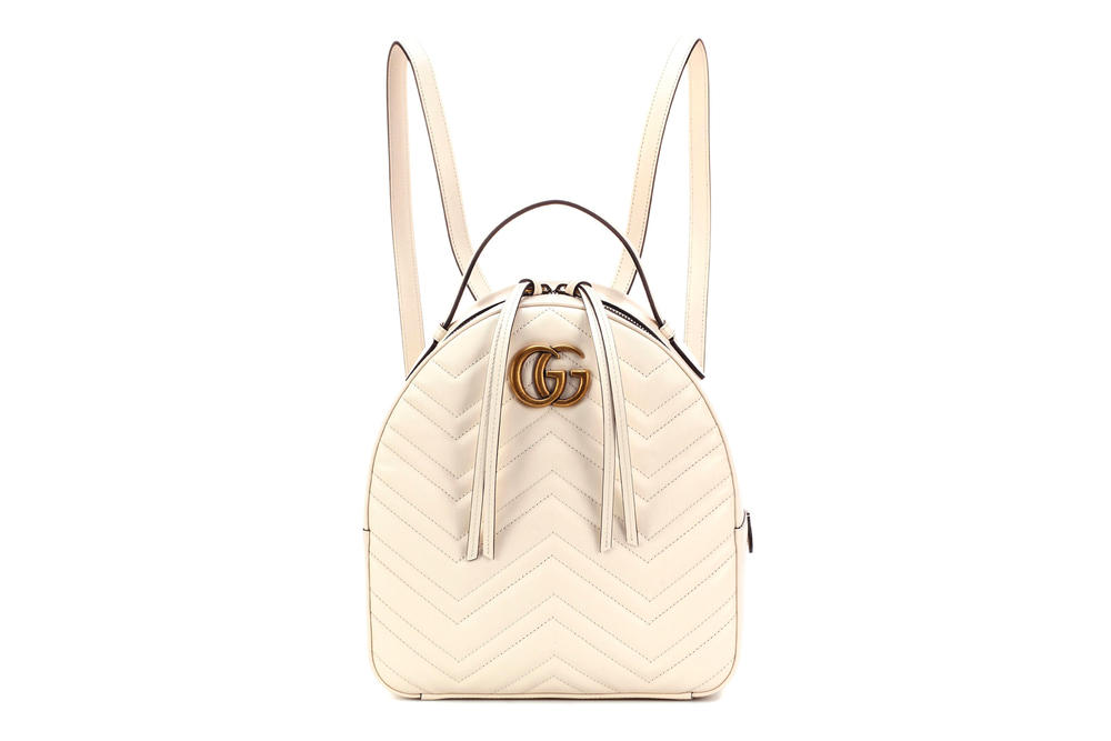 5424d45a269 Gucci GG Marmont Matelassé Leather Backpack White Cream Ivory Gold