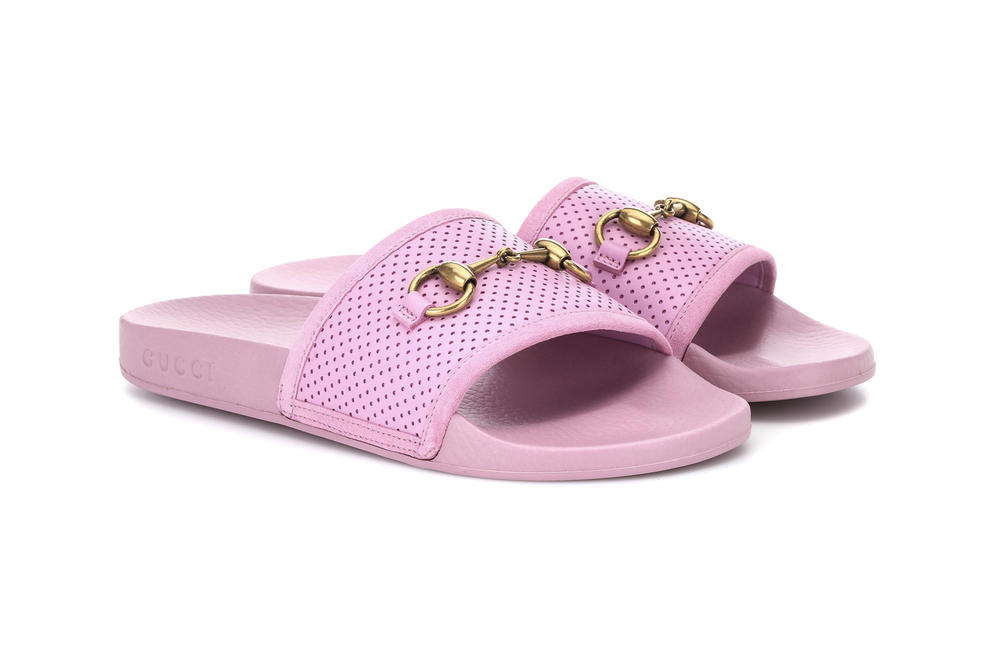 Gucci millennial pastel pink pool slides sandals  horsebit leather perforated mytheresa.com where to buy