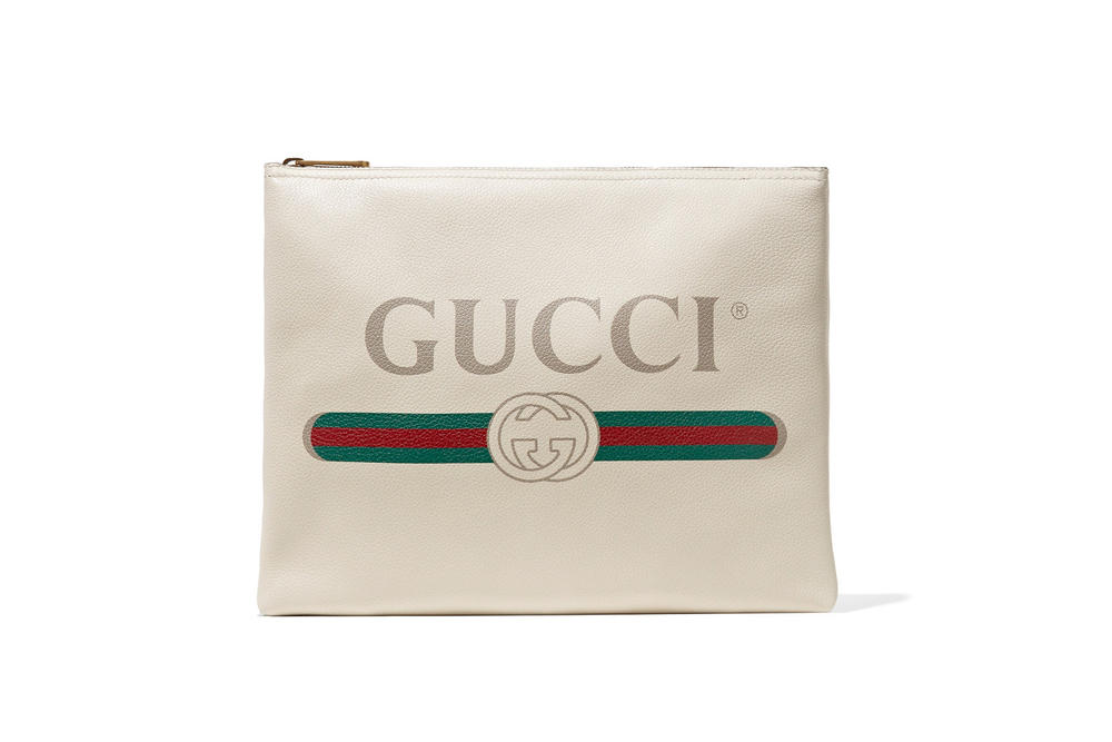 Gucci White Vintage Logo Leather Pouch Print Green Red Retro Leather Over-size Accessory Bag