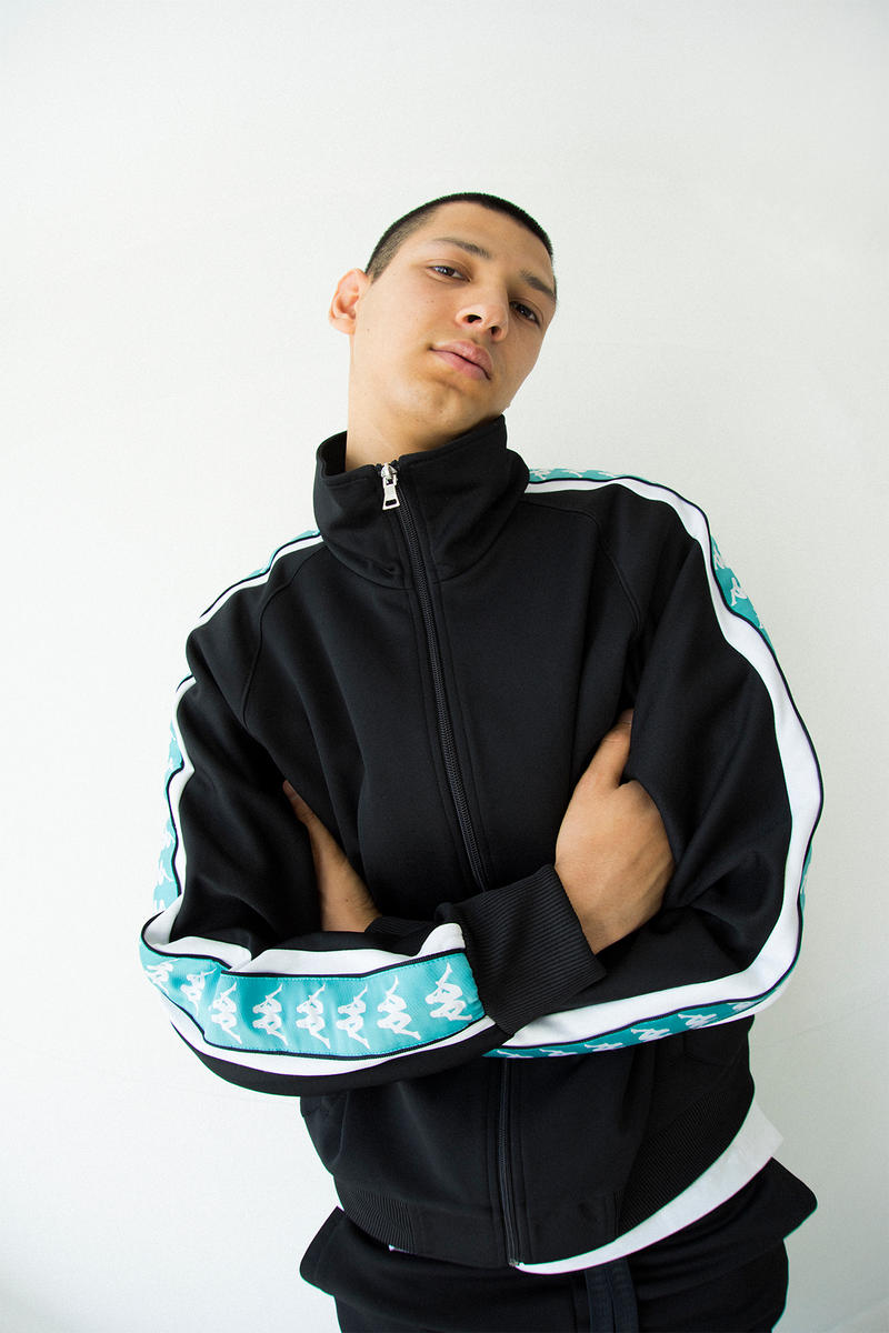 kappa spring summer banda collection teal black omni logo tracksuit