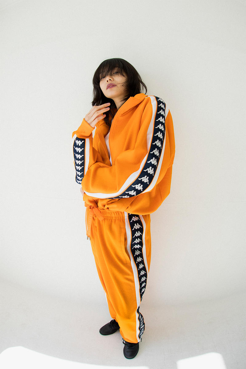 kappa spring summer banda collection orange black omni logo tracksuit