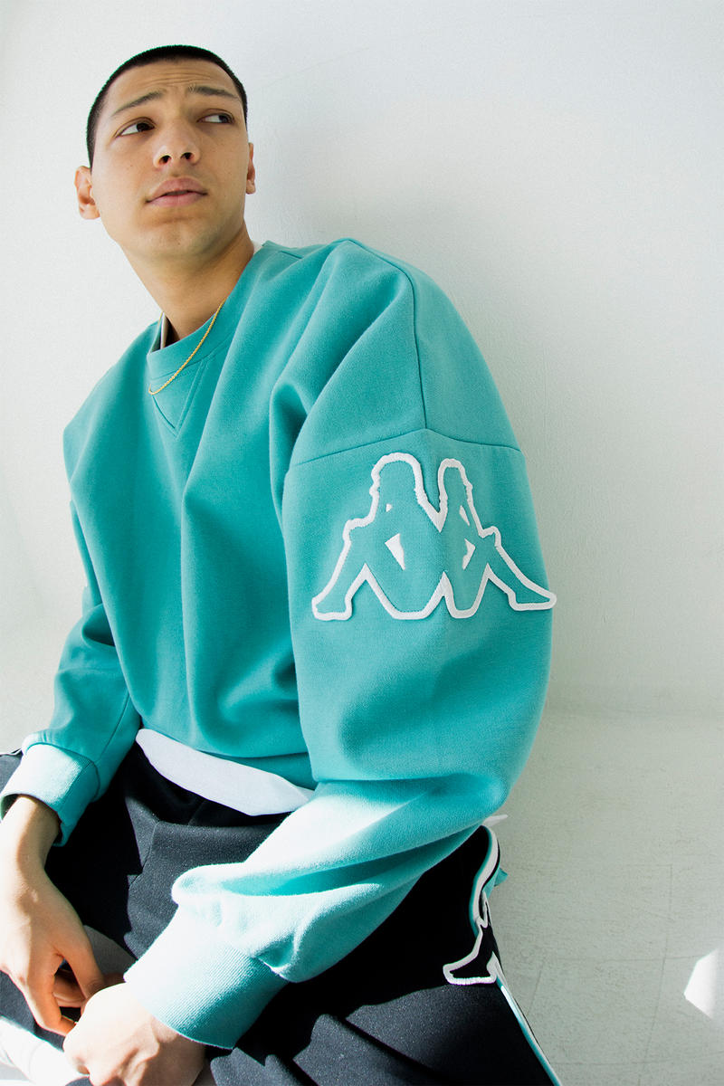 kappa spring summer banda collection teal black omni logo sweater