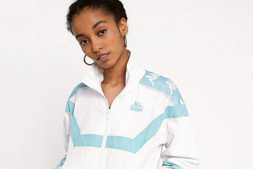 9e42912b6118 Kappa Drops Logo Track Jacket in White and Blue