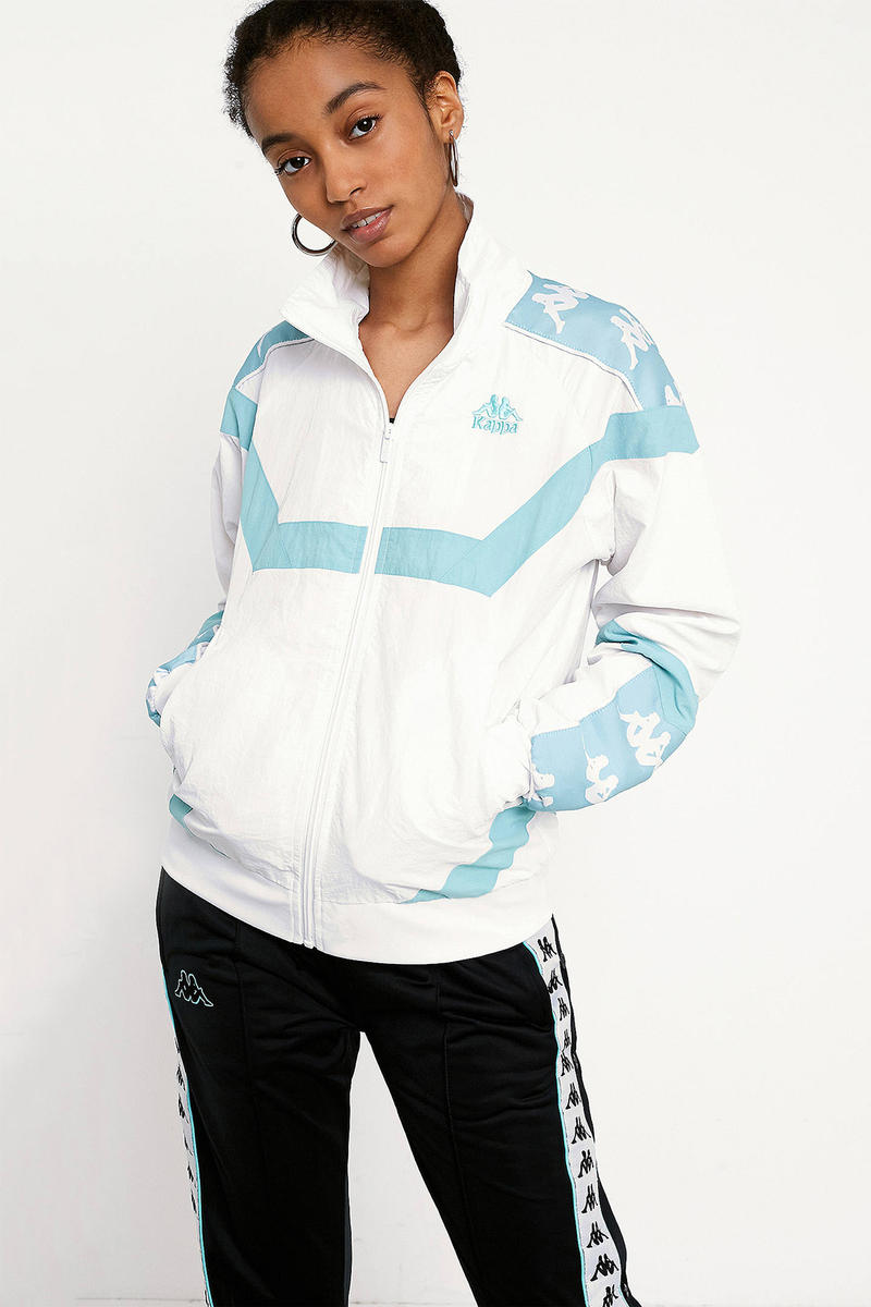 Kappa womens logo track jacket white sky aqua blue turquoise urban outfitters where to buy