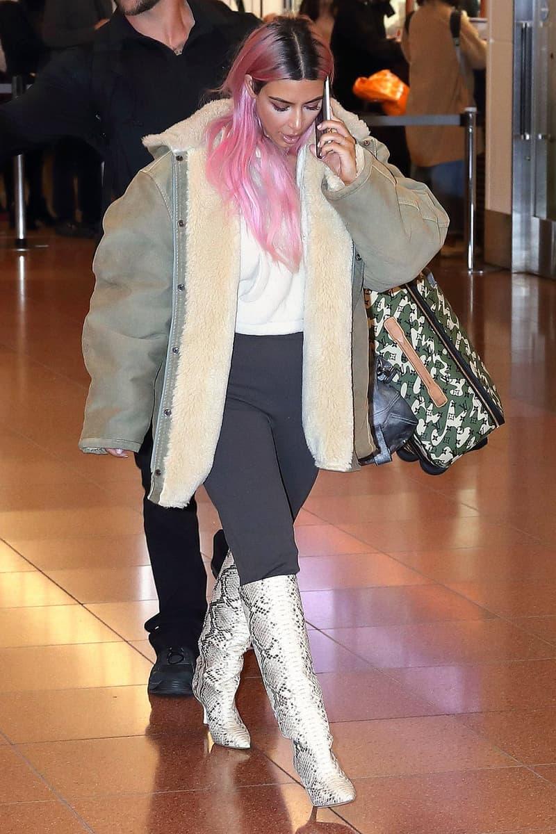 Kim Kardashian YEEZY Season 7 Pink Hair