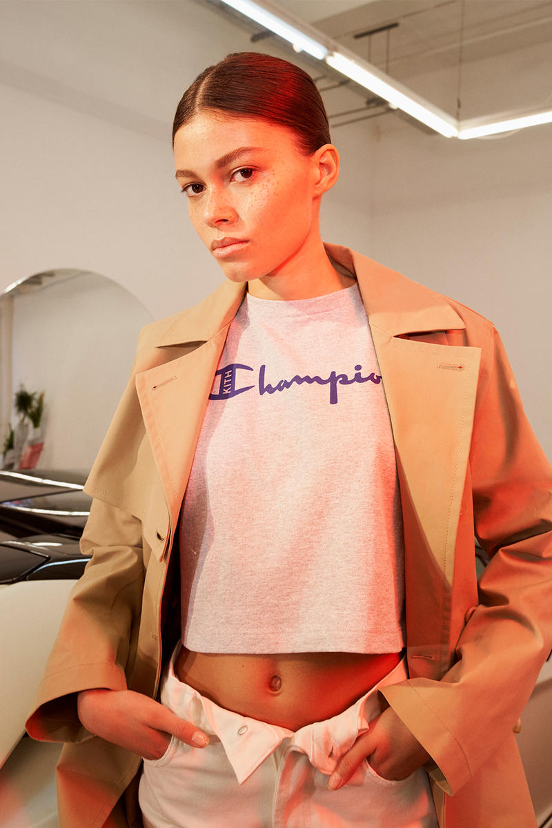kith womens champion collaboration collection oversized sweatshirt logo hoodie cropped t-shirt 90s track jacket pants where to buy net-a-porter