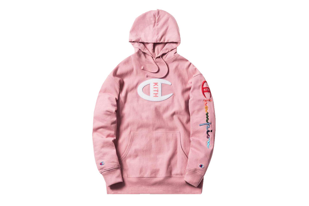 KITH Sport Champion Millennial Pink Hoodie Rainbow Embroidered Logo Where to Buy Price Release Date Ronnie Fieg