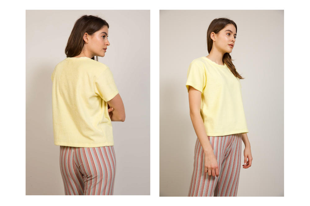 Liana Spring/Summer 2018 Collection Lookbook Shirt Yellow Striped Pants