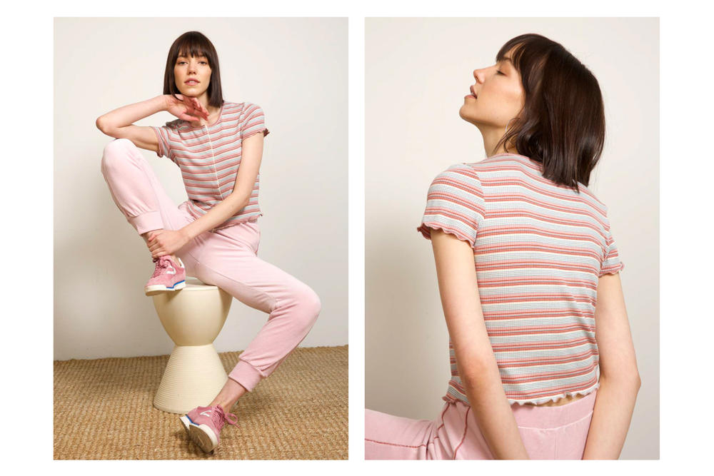 Liana Spring/Summer 2018 Collection Lookbook Track Pants Striped Shirt Pink