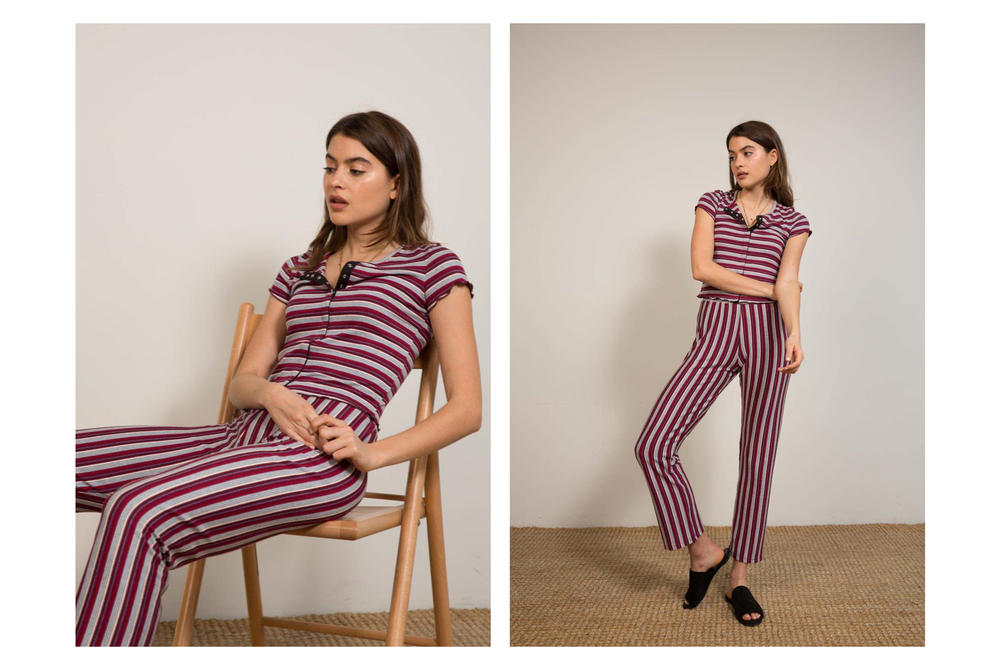Liana Spring/Summer 2018 Collection Lookbook Striped Pants T-Shirt