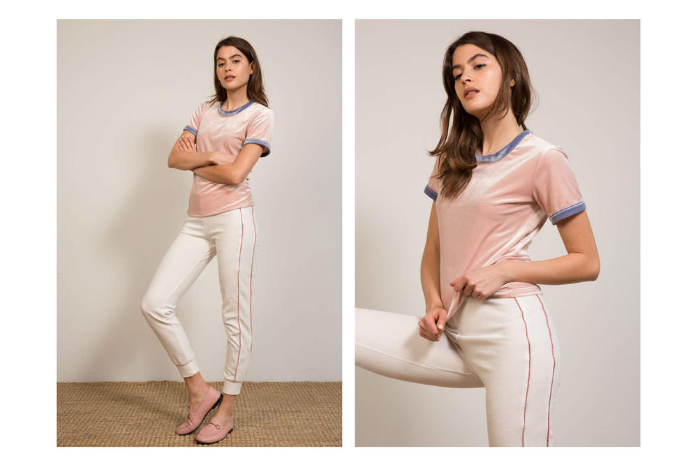 Liana Spring/Summer 2018 Collection Lookbook Striped Pants Velvet T Pink