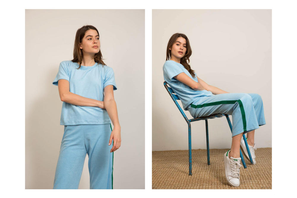 Liana Spring/Summer 2018 Collection Lookbook Track Pants Tee Blue