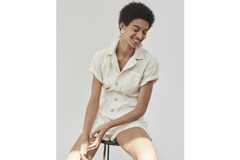 Madewell x As Ever NYC Collection Coverall Bodysuit Shortall Cloud Lining